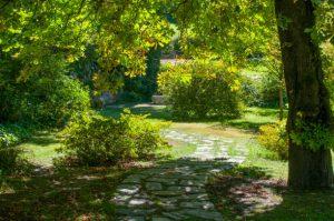 Allée de jardin principale délimitant l'espace